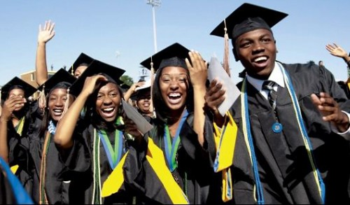 Black students graduating