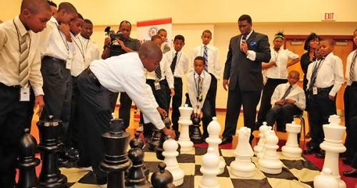 Orrin Hudson teaching chess