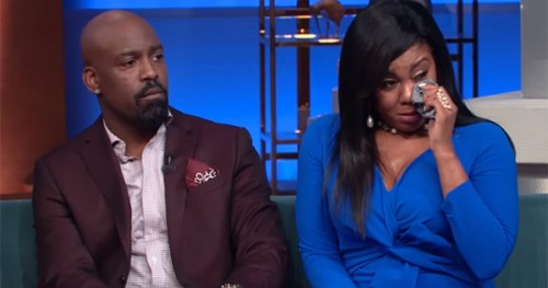 Kyle Norman of Jagged Edge With His Wife on the Steve Harvey Show
