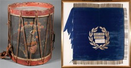 Jordan B. Noble Infantry Snare Drum and Flag of the Battle of New Orleans