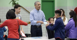 President Obama with Low Income Students