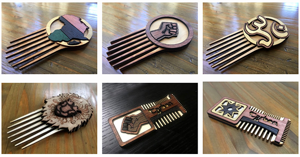 Afro Futuristic Hair Styling Combs