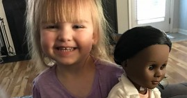 2-year old girl Sophia who prefers a Black doll