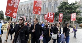 Protestors in Seattle for a minimum wage increase
