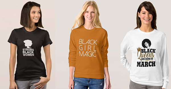Black empowerment T-shirts with White Models on Zazzle