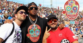 Master P promotes his new Sugar Skull Rum at a NASCAR event