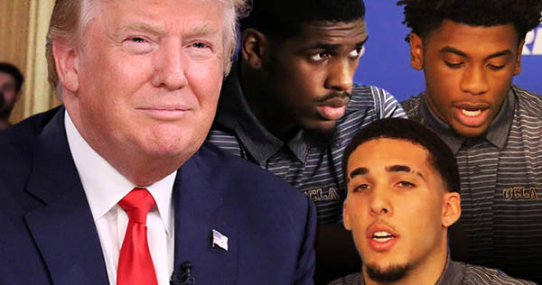 President Donald Trump with UCLA basketball players
