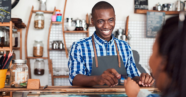 Black-owned store with customers
