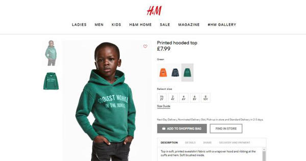 "Screenshot of the H&M website featuring a black boy in a ""Coolest Monkey in the Jungle"" hoodie"