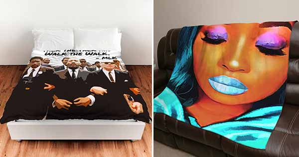 Sofy Decor's Black art pillows and blankets