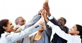 Black entrepreneurs raising hands