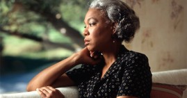 African American woman with cancer treatments