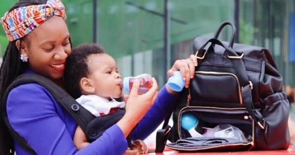Baby diaper bag disguised as handbag