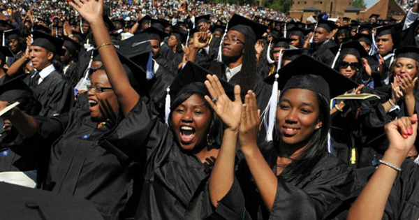 African American students at graduation