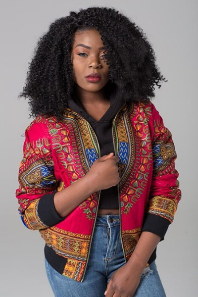 Model wearing clothing from African Fabric Co.
