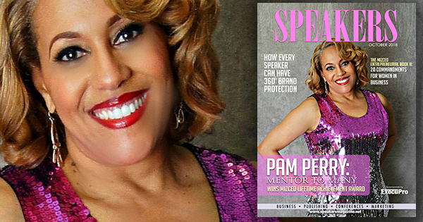 Pam Perry on the cover of Speakers Magazine