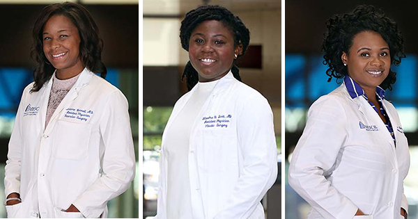 Dr. Avianne Bunnell, Dr. Kiandra Scott, and Dr. Quiana Kern are surgical residents at MUSC