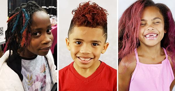 Black children wearing hair color