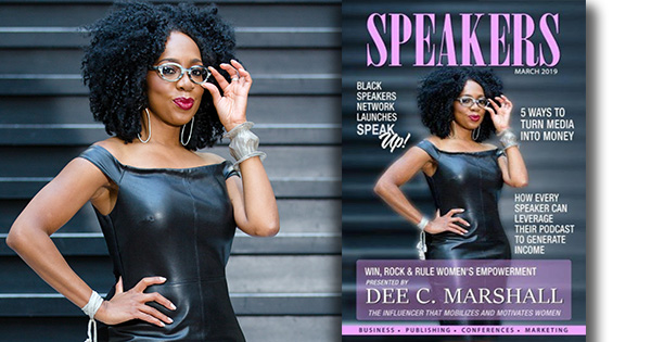 Dee Marshall on the cover of Speakers Magazine