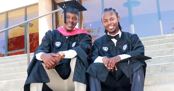 Antonio and Brandon Gathers, the father and song who graduated college at the same time