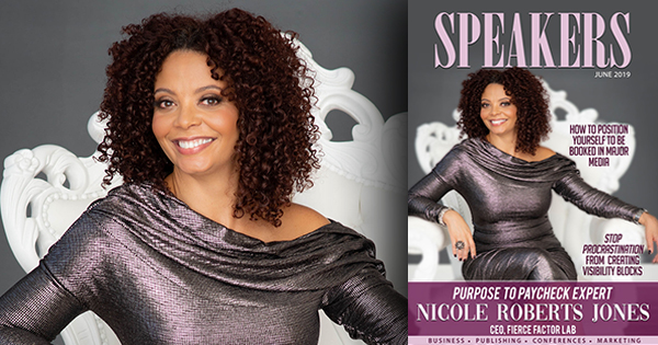 Nicole Roberts Jones on the cover of Speakers Magazine